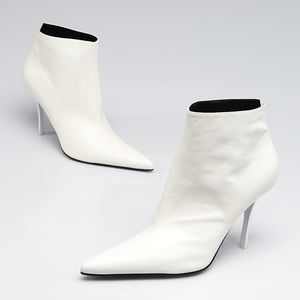 Celine vintage white pointed toe ankle boots new